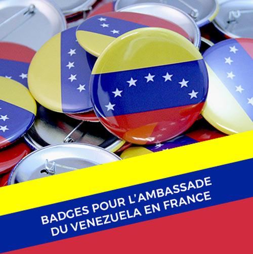 Réalisation de badges pour l'ambassade du Venezuela