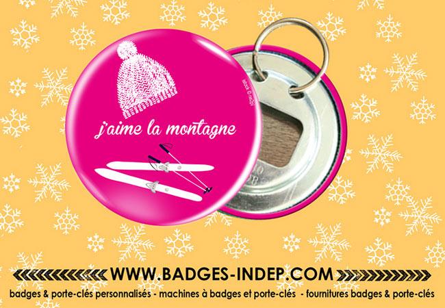 Badge rond décapsuleur personnalisé avec porte clef