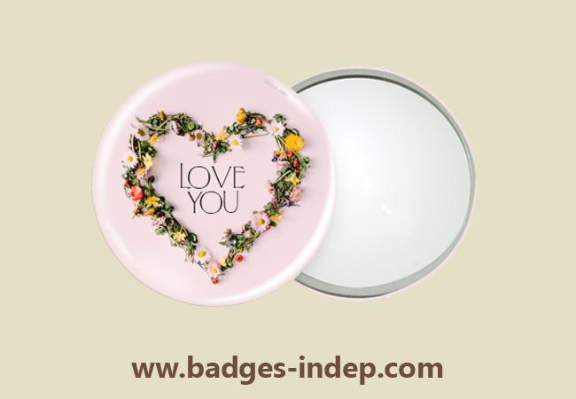 Badge miroir de poche personnalisé avec image pour mariage